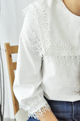 Lace Trimmed Sailor Collar Blouse