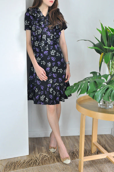 Ribbon Collar Flounce Floral Dress