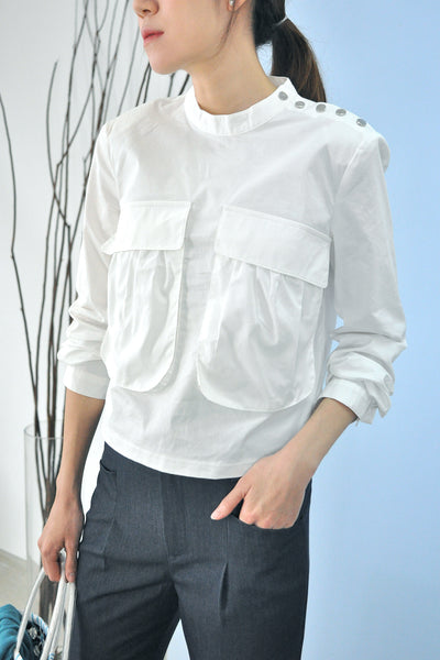 Flap Pocket Shoulder Buttons Top