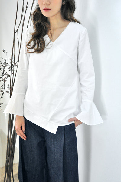 Bell Sleeves Asymmetrical Hem Blouse