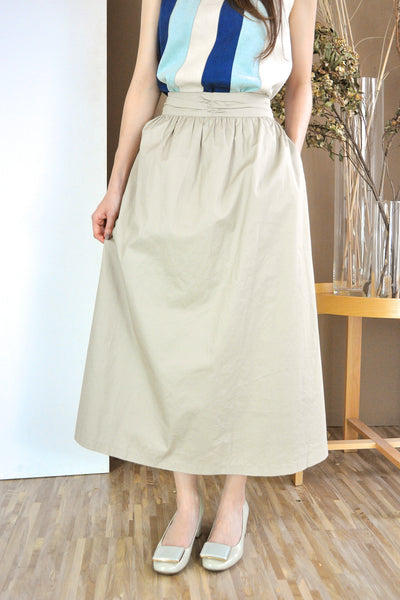 Ruched Waistband Long Skirt