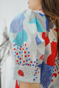 Mixed Prints Puffy Sleeves Blouse
