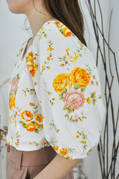 Puffy Sleeves Floral Sweetheart Top