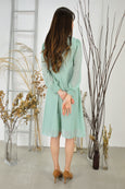 Shirring Cuffs Sheer Sleeves Dress