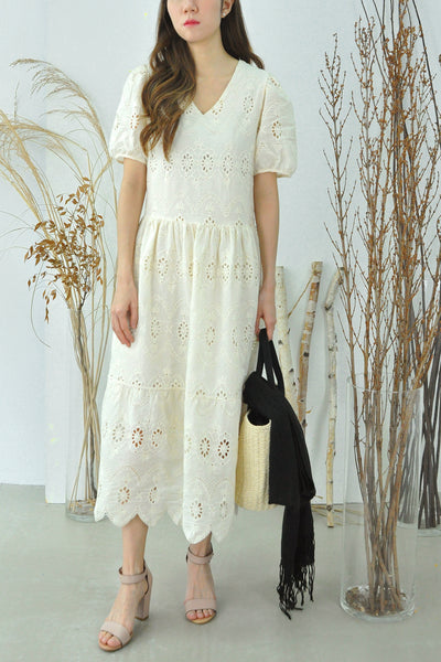 Cutwork Embroidery Scalloped Hem Dress