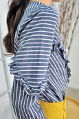 Asymmetrical Ruffles Trimmed Stripey Top
