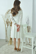 Knife Pleats Eyelet Dress