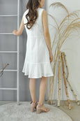 Flounce Hem Eyelet Dress