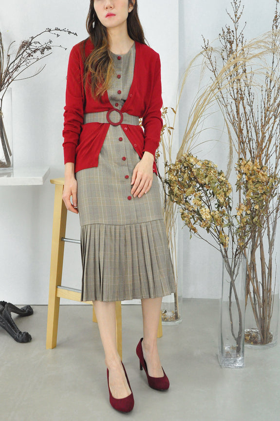 Pleated Hem Belted Plaid Dress