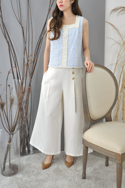 Square Neck Eyelet Sleeveless Top