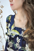 Square Neck Tropical Prints Blouse