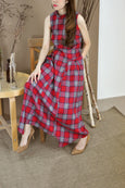 Roll Collar Plaid Long Dress
