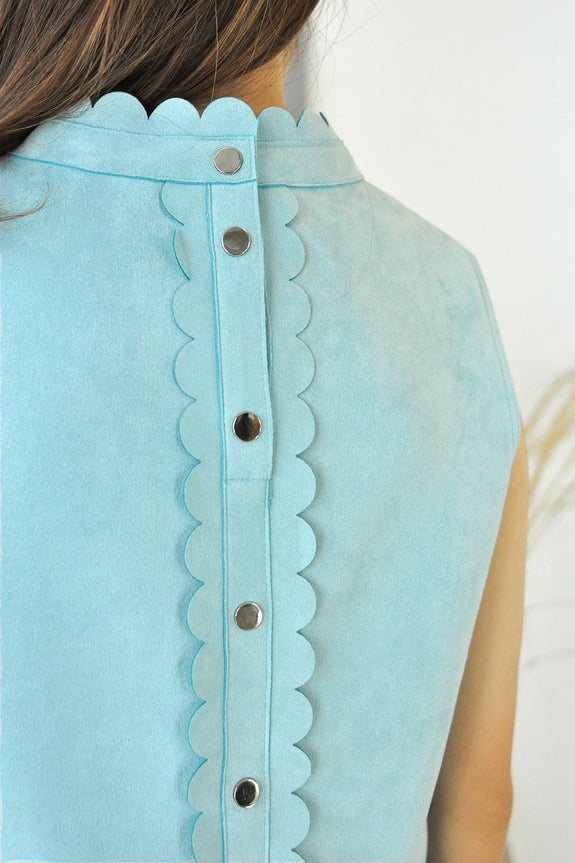 Scallop Trimmed Button Top