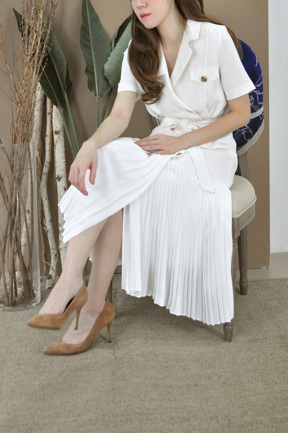 Pleated Hem Trench Dress