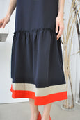 Contrast Border Flounce Hem Dress