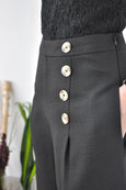 Buttons Feature Wide Leg Pants