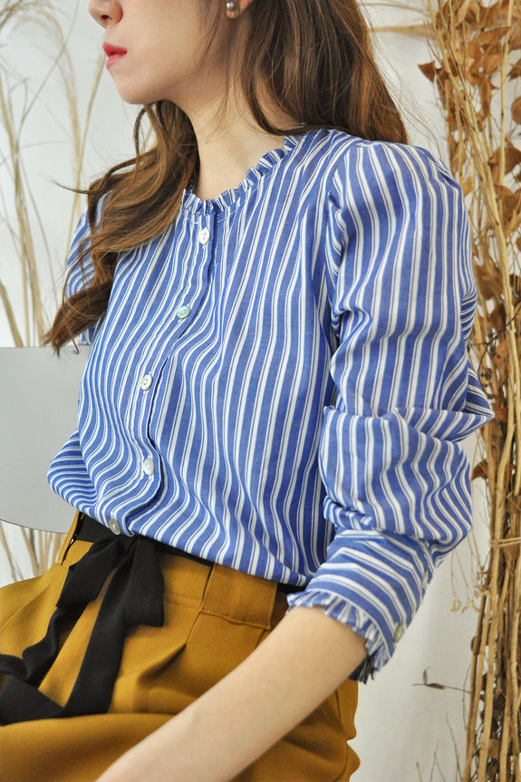 Frilled Cuffs Stripey Shirt