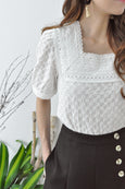 Square Neckline Embroidery Blouse
