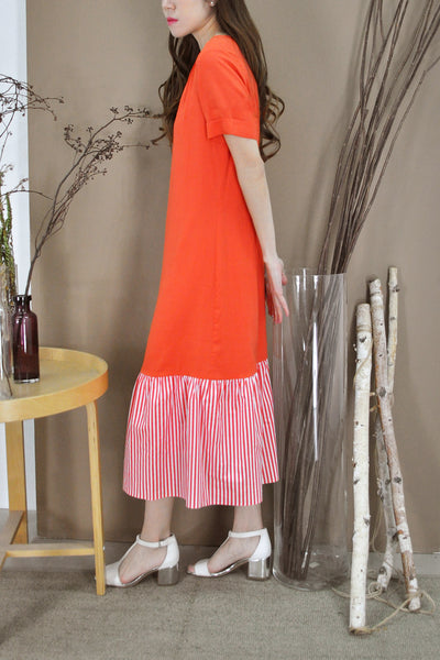 Stripey Flounce Drop Hem Dress