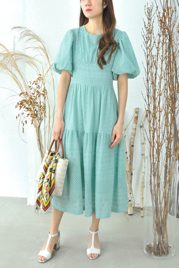 Puffy Sleeves Eyelet Dress