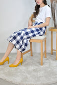 Flounce Hem Checkered Mermaid Skirt