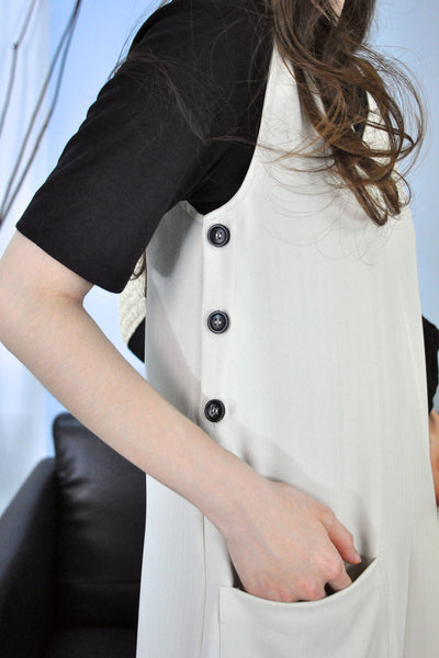 Side Buttons Front Pockets Dress