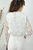 Flounce Collar Bell Cuffs Lace Top