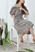 2-Ways Shoulder Gingham Dress
