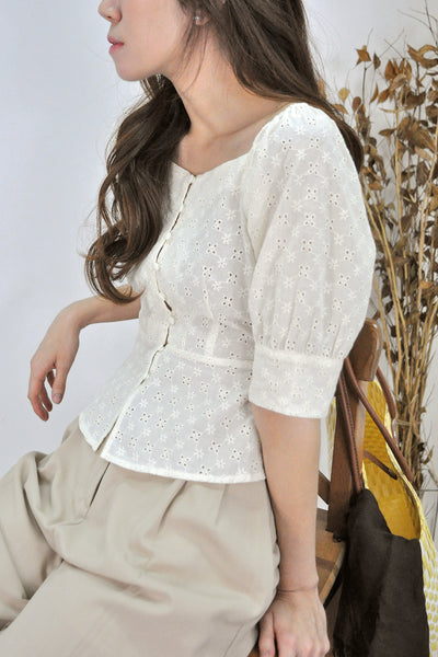 2-Way Shoulder Eyelet Top