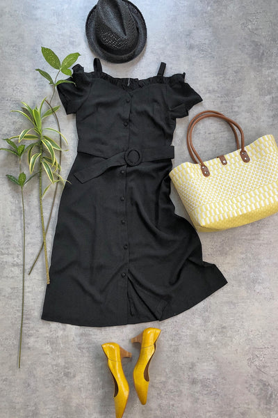 Ruffles Sweetheart Belted Dress