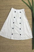 Double Breasted Dotty A-Line Skirt