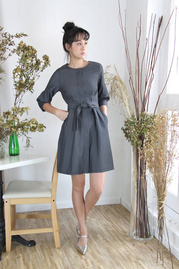 Inverted Box Pleats Belted Dress
