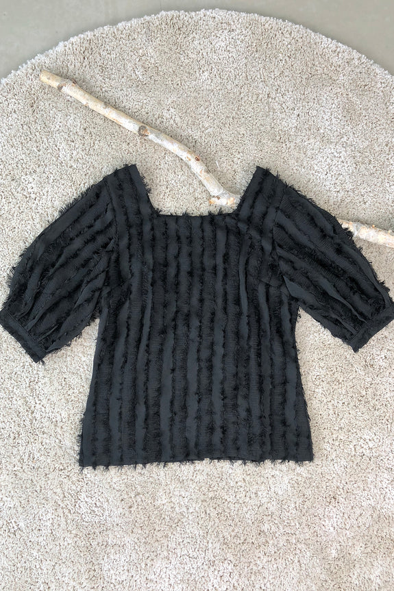 Fringe Trimmings Square Neck Top