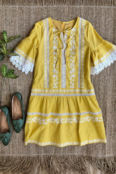 Crochet Lace Drop Waist Dress