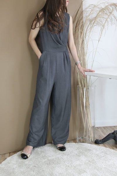 Drape Pleats Wide Leg Jumpsuit