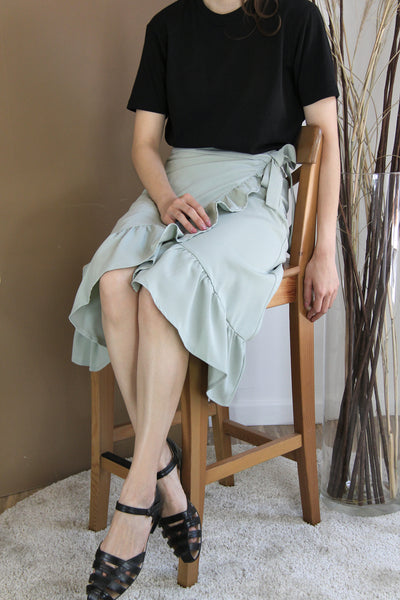 Asymmetrical Ruffles Wrap Skirt