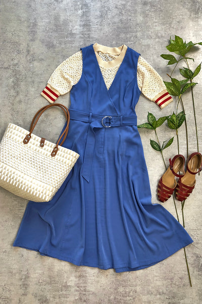 Belted Wrap Dress with T-Shirt