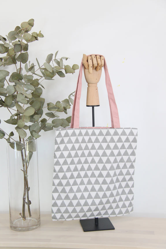 Grey Triangles Reversible Tote