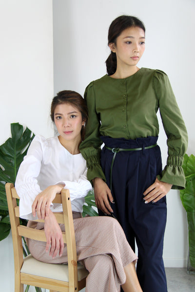 Puffy Sleeves Elastic Cuffs Blouse