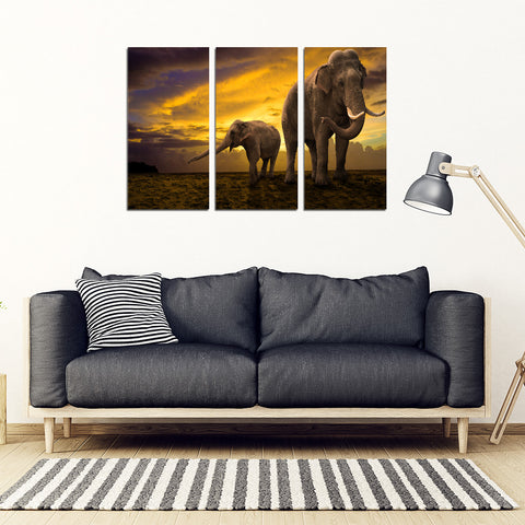 Mother Nature Elephant 3 Piece Framed Canvas Art - NOW 50% OFF