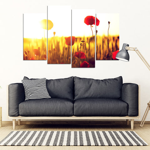 Poppy Flower in Sunset 4 Piece Framed Canvas