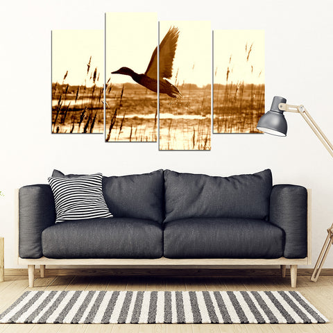 Duck Hunting 4 Piece Framed Canvas