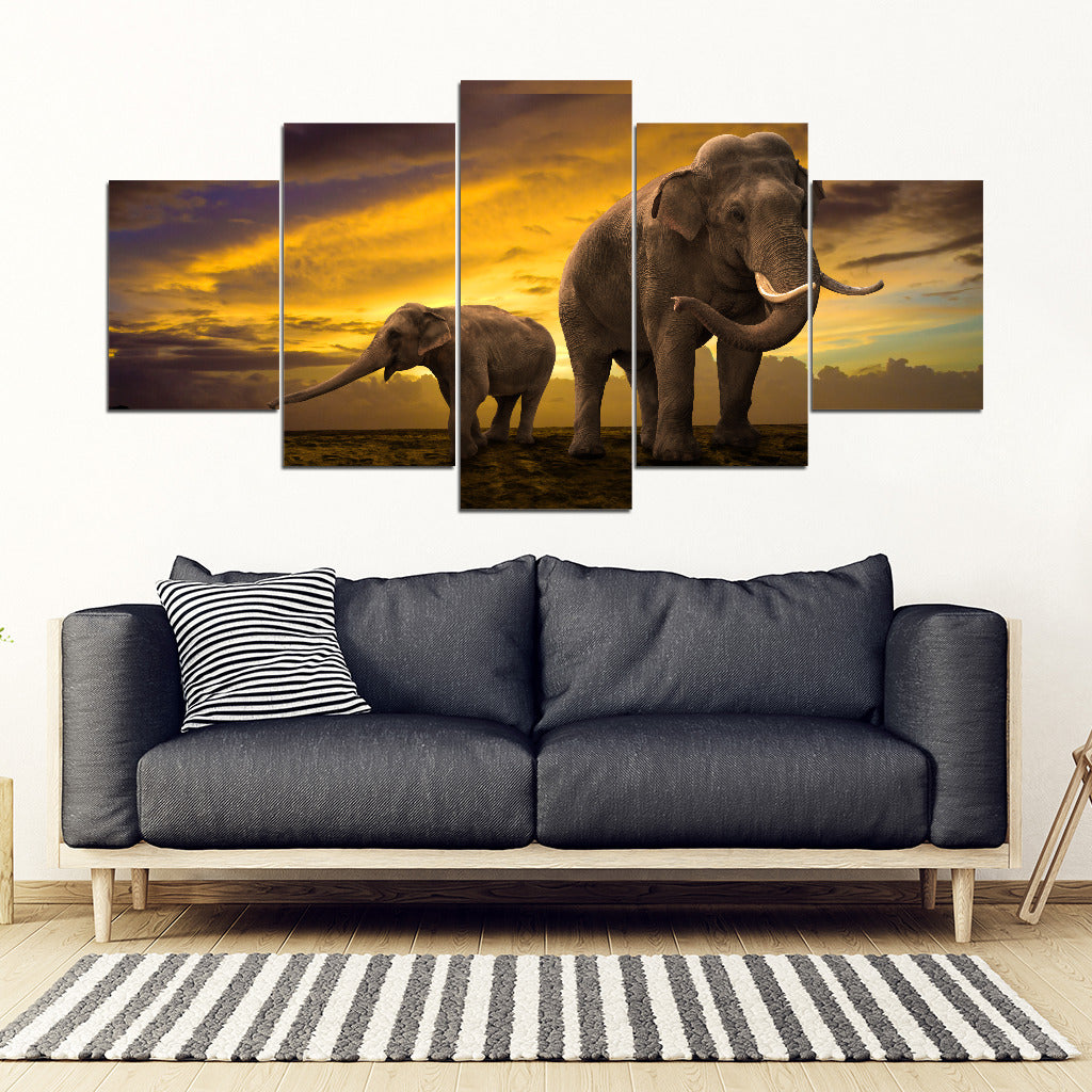 Mother Nature Elephant 5 Piece Framed Canvas Art - NOW 50% OFF