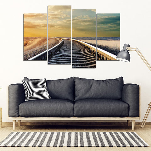 Train Tracks To Nowhere Railroad Tracks 4 Piece Framed Canvas
