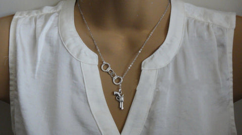 Silver Handcuff GunPendant Necklace -->> NOW 50% OFF
