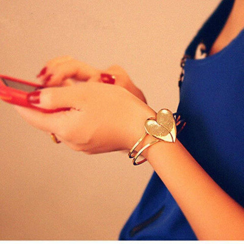 Heart Bangle Gold Plated Bracelet FREE + SHIPPING