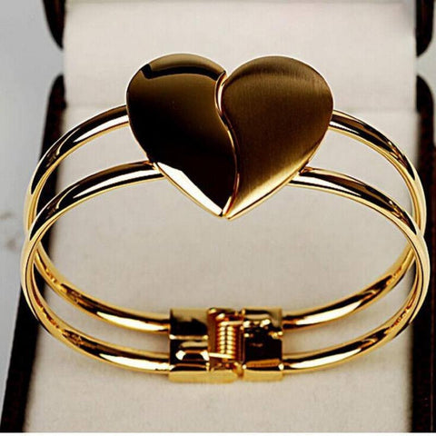 BUY Heart Bangle Gold Plated Bracelet + FREE SHIPPING! Online-Charm Bracelets-My Favorite Online Store