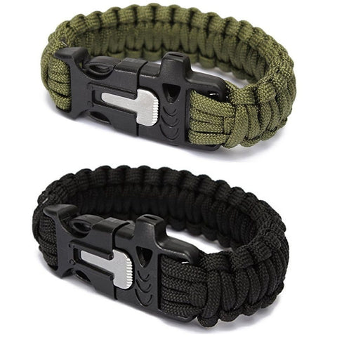 Survival Camping Bracelet Paracord Flint Fire Starter Scraper Whistle