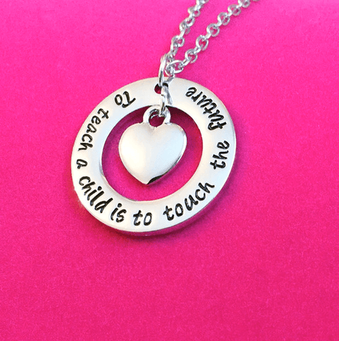 "BUY Teacher's Necklace - ""To teach a child is to touch the future"" Online-Pendant Necklaces-My Favorite Online Store"