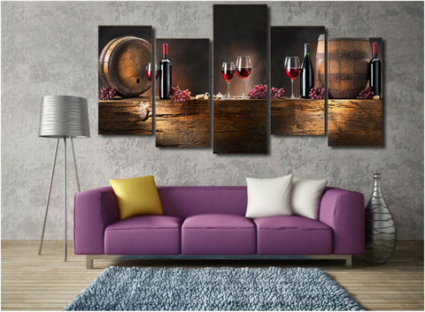 GreatWine Lovers 5 Piece Canvas Wall Art-High Quality ->> 50% OFF